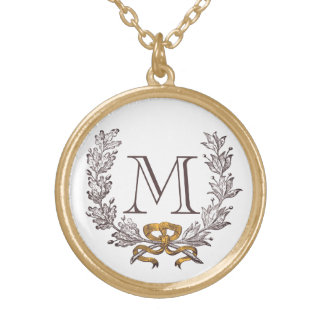 Or d'initiale de monogramme personnalisé par guirl pendentif rond