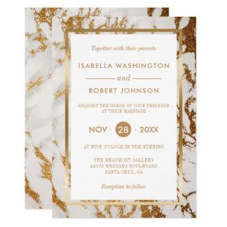 Or élégant chic et mariage moderne de marbre blanc carton d'invitation  12,7 cm x 17,78 cm
