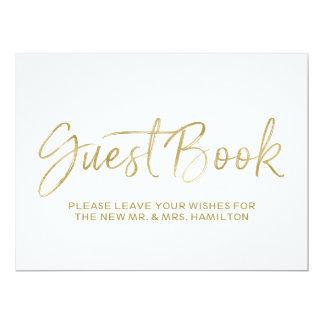 Or élégant du signe | de mariage de livre d'invité carton d'invitation  16,51 cm x 22,22 cm