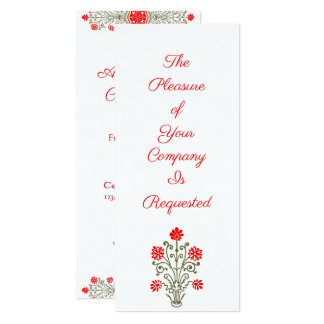 Or élégant et invitations florales rouges de