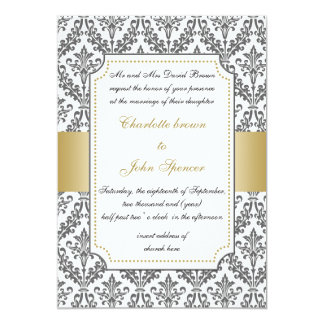 or élégant, invitation de mariage damassé carton d'invitation  12,7 cm x 17,78 cm