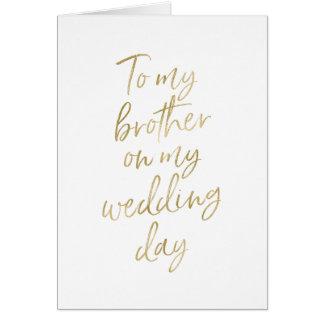 Or élégant marqué avec des lettres à mon frère sur carte de vœux