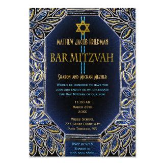 Or et bleu de Mitzvah de barre Carton D'invitation 12,7 Cm X 17,78 Cm