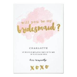 Or et Blush serez-vous ma demoiselle d'honneur ? Carton D'invitation 12,7 Cm X 17,78 Cm