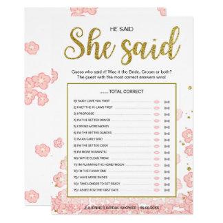 Or et douche nuptiale de rose qu'il a dite qu'elle carton d'invitation  12,7 cm x 17,78 cm