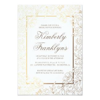 Or et douche nuptiale vintage florale blanche carton d'invitation  12,7 cm x 17,78 cm