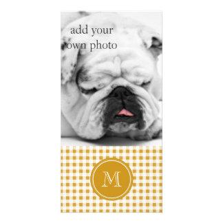 Or et guingan blanc, votre monogramme carte avec photo