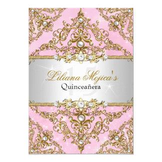 Or et invitation rose de Quinceanera de damassé de