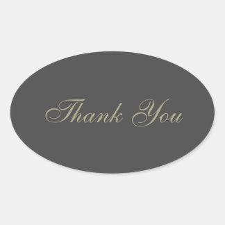 Or et Merci noir Sticker Ovale