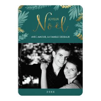 Or et photo de Joyeux Noël de feuille de vert Carton D'invitation 12,7 Cm X 17,78 Cm