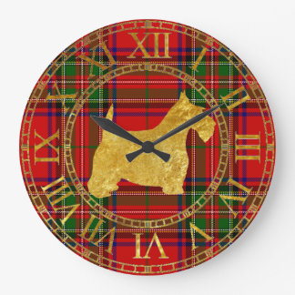 Or et plaid de Terrier d'écossais Grande Horloge Ronde
