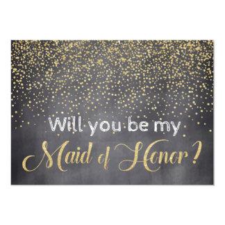 Or et tableau vous serez ma domestique d'honneur carton d'invitation  12,7 cm x 17,78 cm