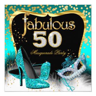 Or fabuleux de Teal de partie de 50 mascarades Carton D'invitation 13,33 Cm