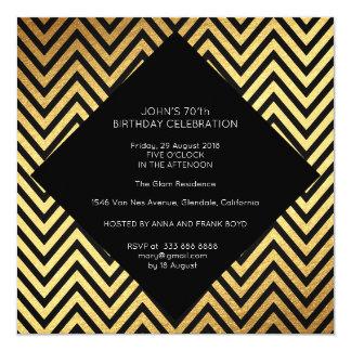 Or géométrique d'art déco de fête d'anniversaire carton d'invitation  13,33 cm