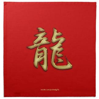 Or l'année rouge du dragon dinant des serviettes