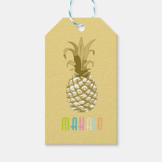Or Mahalo ID239 d'ananas Étiquettes-cadeau