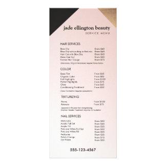 Or, menu rose de service de listes des prix de spa double carte en  couleur