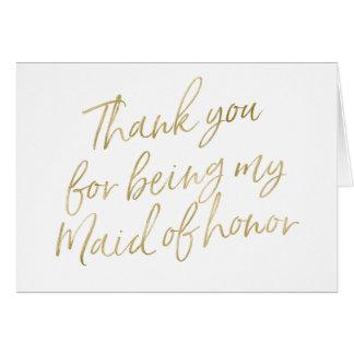 """Or """"Merci pour mon être ma domestique d'honneur """" Carte De Vœux"""