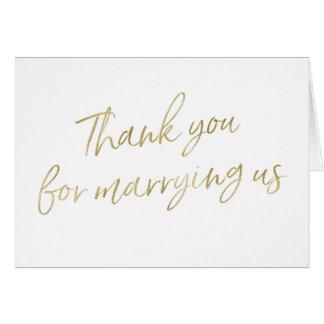 """Or """"Merci pour nous épouser """" Carte De Vœux"""