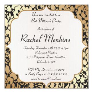Or métallique et invitation noire de bat mitzvah carton d'invitation  13,33 cm