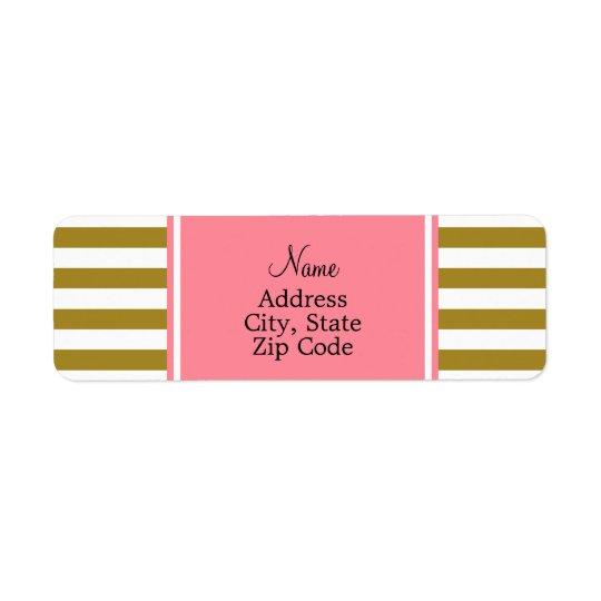 Or métallique et motif rayé rose étiquette d'adresse retour