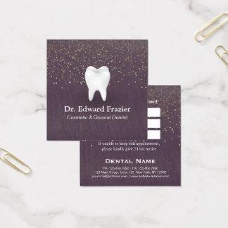 Or moderne de pourpre de rendez-vous de dentiste carte de visite carré