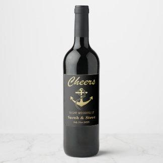 Or nautique de mariage d'acclamations et étiquette pour bouteilles de vin