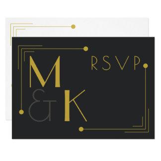 Or noir RSVP du style 1920 d'art déco Carton D'invitation 12,7 Cm X 17,78 Cm