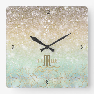 Or opale ID435 de gradient combiné de parties Horloge Carrée