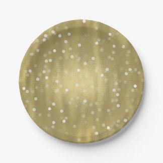 Or rêveur et mariage blanc de Bokeh de confettis Assiettes En Papier