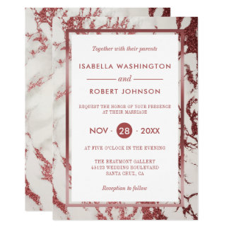 Or rose chic et mariage moderne de marbre blanc carton d'invitation  12,7 cm x 17,78 cm