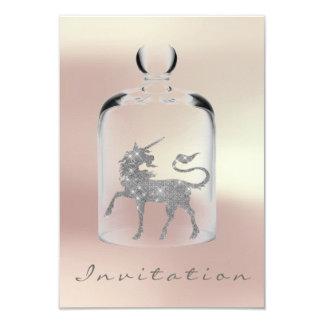 Or rose d'argent nuptiale de filles d'anniversaire carton d'invitation 8,89 cm x 12,70 cm