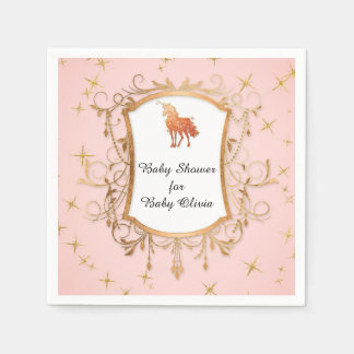 Or rose de licorne magique de baby shower de fille serviettes jetables