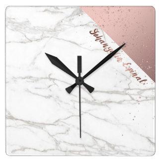 Or rose de marbre blanc chic à la mode horloge carrée