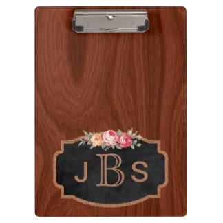 Or rose d'initiales en bois vintage décoré d'un