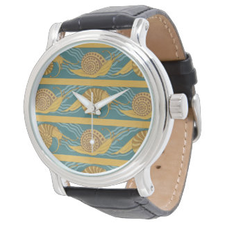 Or turquoise jaune bleu d'escargot d'impression de montre