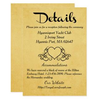 Or vintage et détails de coeurs/directions noirs carton d'invitation  11,43 cm x 15,87 cm