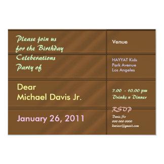 Orange de luxe de satin avec le texte témoin carton d'invitation  12,7 cm x 17,78 cm