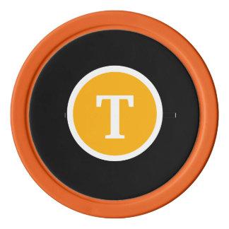 Orange décorée d'un monogramme jetons de poker