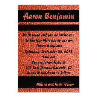 Orange d'invitation de Mitzvah de barre de cercles Carton D'invitation 8,89 Cm X 12,70 Cm