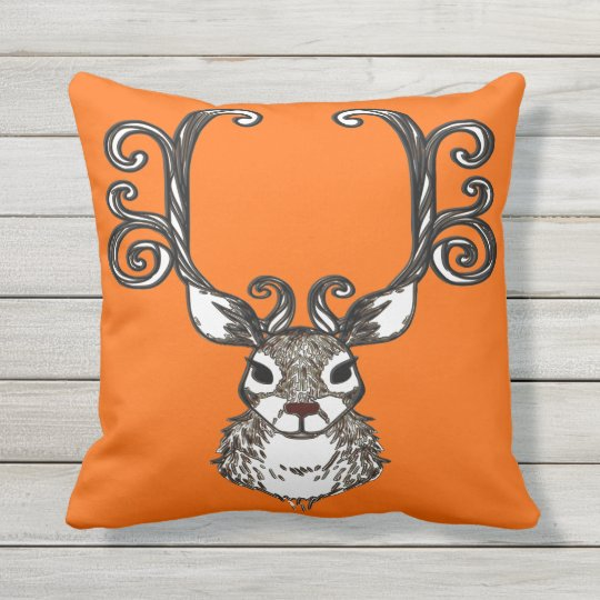 Orange extérieure de renne de brun de cottage coussin décoratif