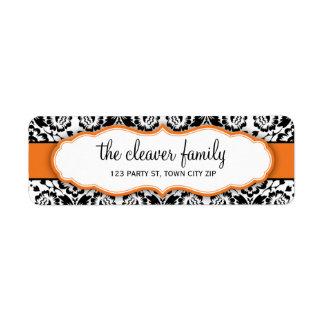 Orange lumineuse de noir élégant de damassé étiquette d'adresse retour