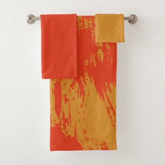 Orange peinte - ensemble de serviette