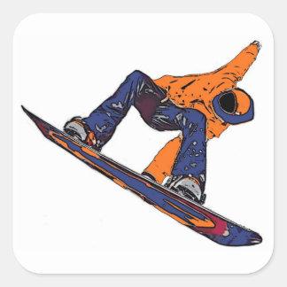 Oranje blauwe spoedsnowboarderstickers vierkante stickers