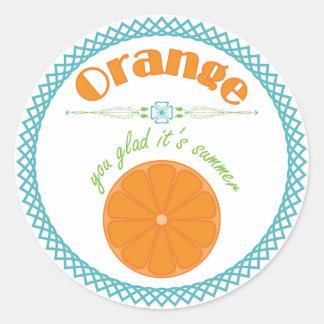 Oranje Blij u Zijn Zomer met Turkooise Grens Ronde Sticker