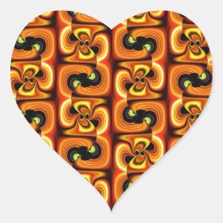 Oranje Bloem Hart Sticker