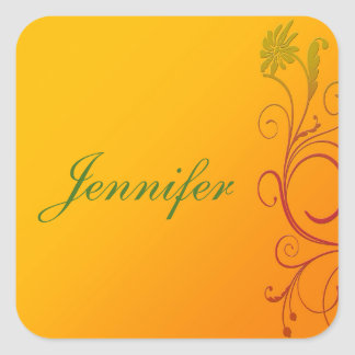 Oranje Bloem Vierkante Sticker