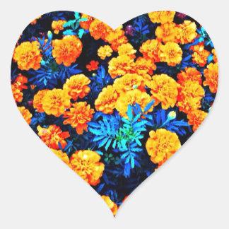 Oranje Bloemen Hartvormige Stickers