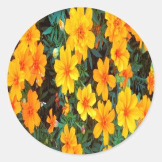 Oranje Bloemen Ronde Sticker
