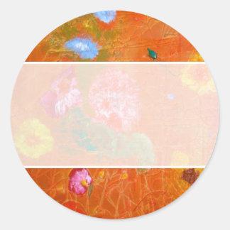 Oranje BloemenOntwerp Ronde Stickers